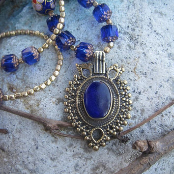 Royal Blue Bohemian Vintage Pendant on Cloisonné and Cathedral Beads Necklace - FREE SHIPPING in the US