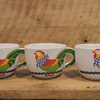 Colorful Rooster Soup Mug Set of Three, Marked FTD , Vintage Rooster, Rooster Kitchen , Rooster Mug, Rooster Bowl , Rooster Cup