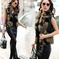 Etosell Women's Sleeveless Faux Rabbit Fur Vest Short Outerwear Coat Waistcoat