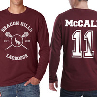 Beacon Hills Lacrosse WL McCall 11 Scott McCall on Longsleeve MEN tee Maroon color