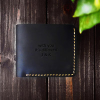 Men's Handmade Leather Minimalist Bifold Wallet with Monogram Wallet/Father's,Valentine's, Anniversary, Wedding, Groom's Gift