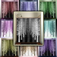 gray shades forest avenue stand tree lane shower curtain bathroom decor fabric kids bath white black custom duvet cover rug mat window