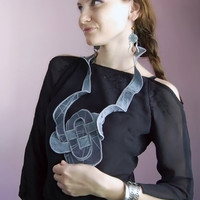Textile Embroidered Necklace- Wearable Art- Geometric, Chess Board, Fiber Accessories, Shades of Grey - Silk Cotton