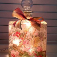 #2 Pink Rose Bouquet Perfume Bottle Nightlight ( Night Light )