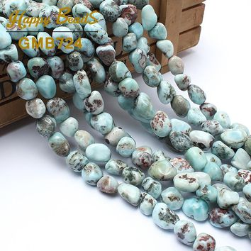 8-10mm Natural Shaped Stone Genuine Larimar Beads For Jewelry Making 15inches Irregular Natural Stone Beads Free Shipping