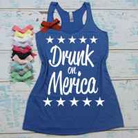 Drunk on Merica Tri Blend Eco Racerback Tank Top. XS-XL. Independence Day shirt. 4th of July shirt. USA tank top. America shirt.