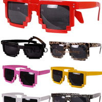 Retro Trendy Cool Pixel 8 Bit Glasses Pixelated Style Square Sunglasses