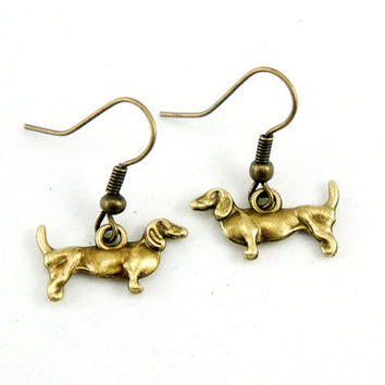Dachshund Earrings - Antiqued Brass Vintage Style Dog Dangle Earrings - Bridesmaids Gifts Idea - CP015
