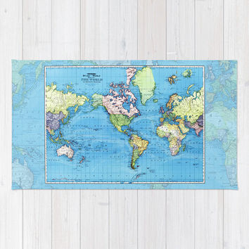 World Map Bath Mat  Historic mercator map for a travel or map bathroom, ideas, redecorate, decor, shower