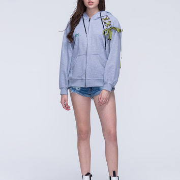 Grey Lace Up Shoulder Embroidery Letter Zip Up Hoodie