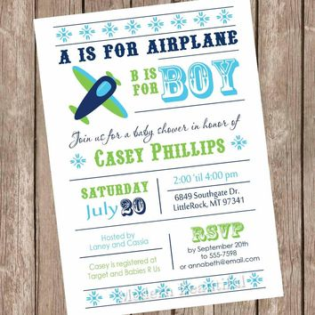 Airplane baby shower invitation, aviation baby shower, aviation invitation, plane baby shower invitation, teal, navy, printable file  AP01