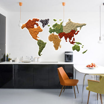 Wall Decal Map - Spicy World Map Decal - wall art