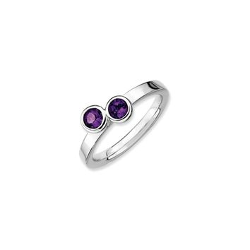 Sterling Silver & Amethyst Stackable 2 Stone Round Ring