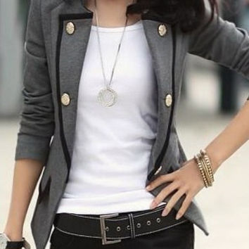 Grey Blends Women Fashion Lapel Long Sleeve Button New Korean Style Slim Suit Coat S/M/L/XL NC318-1-6509-60g (Size: M, Color: Gray)