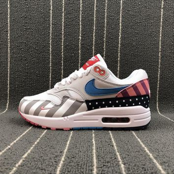 Nike Air Max 1 Parra White / Multe Color Sport Running Shoes - Sale