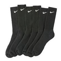 Nike Mens Performance Moisture Wicking Crew Socks - 6 Pair (Black, Shoe Size: 8-12)