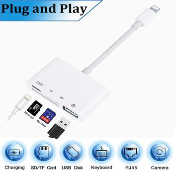 4 in 1 SD TF Card Camera Connection Kits for Lightning to USB Camera Reader adapter OTG Cable for iphone x 8 8pls for ipad Air