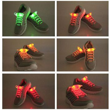 CREYYN6 Shoelace Party Skating Charming LED Flash Light Up Glow Shoe Laces Shoestrings Flashing Colored Neon Luminous for men women