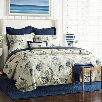 Twin size 100-Percent Cotton 2-Piece Quilt Bedspread Set with Ocean Nautical Beach Sea Shells Pattern