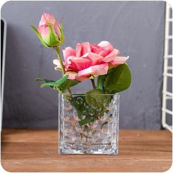Household Decoration Vase Tabletop Flower Vases For Decoration Living Room Water Plant Seed Flower Pot Square Model Glass Vase