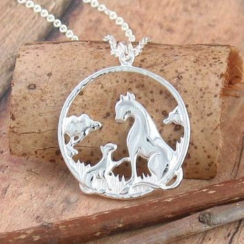 Mother and Baby Leopard Necklace