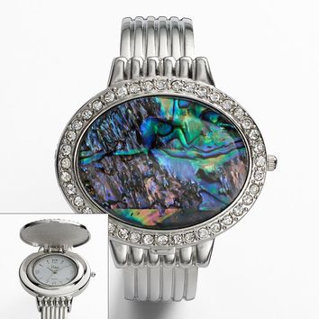 Vivani Silver Tone Simulated Abalone & Simulated Crystal Bangle Watch - K4093A - Women (Grey)