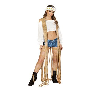 Roma Rave 3588 - 1pc Brown Tie Dye Suede Vest with Long Fringe Detail