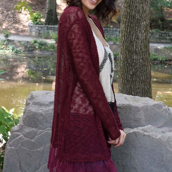 A Moment's Notice Lace Hem Cardigan - Burgundy