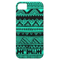Turquoise Black Aztec Geometric Tribal Pattern iPhone 5 Cases