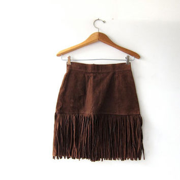 Vintage Suede Mini Skirt. Fringed Leather Skirt. Dark Brown Leather Skirt. High Waist Skirt.