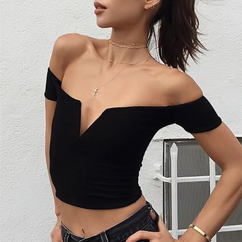 Hot sale fashion black off shoulder belly hollow show thin T-shirt