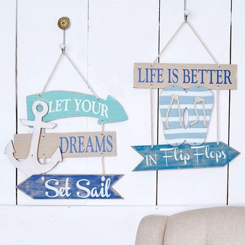 Coastal Wall Sign Beach Tropical Nautical Anchor or Flip Flop Theme Distressed
