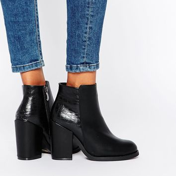 Glamorous Black Faux Snake Effect High Heeled Ankle Boots