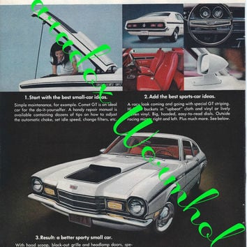 Vintage 1970 70's Mercury Comet Gt Man Cave Wall Art Decor Ad Advertising Muscle Car