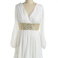 Roman Goddess Long Sleeve Sequin Dress - White + Gold