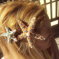 50% OFF SALE Swarovski Crystal Starfish Sea Star Hair Clip, Crystal Starfish Barrette, Halloween Costume, Ariel Costume, The Little Mermaid