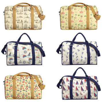 Boats Patterns Printed Oversized Canvas Duffle Luggage Travel Bag WAS_42