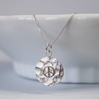Hammered Peace Sign Necklace, Sterling Silver Peace Necklace, Peace Necklace