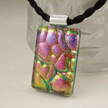 Cobblestone Dichroic Fused Glass Pendant - Mosaic Pendant - Gift For Her  X6584