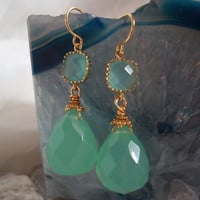 Seafoam Green Quartz Teardrop Earring with Vermeil Accents and Turquoise Glass Connector High Fashion Earrings