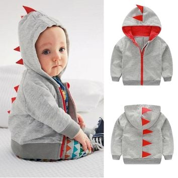 Baby Boy Girl Dinosaur Winter Hoodie