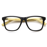 Eco Bamboo Clear Lens Two Tone Horned Rim Clear Lens Glasses 9230