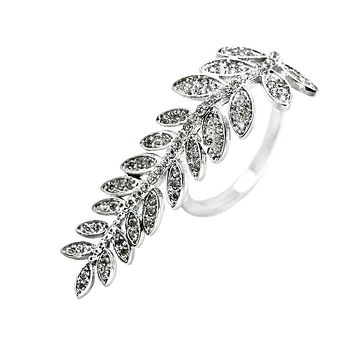 SALE     .89TCW Russian lab Diamond Leaf Ring