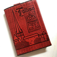 Red Vintage Soviet Book Cover, Leather Book Cover With Picture of Tallinn, Estonia