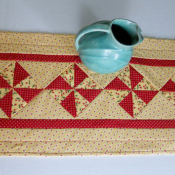 Retro Pinwheel Quilted Table Runner Spring Summer Yellow Red Cherries