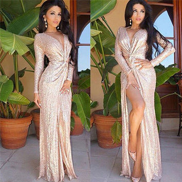 Gold Sequin Dress Autumn Party Long Sleeve Dress Sexy Deep V-neck Nightclub Dresses High Split Party Dresses Plus Size Vestidos