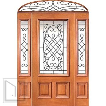 Prehung Mahogany 3/4 Lite Door Two Sidelights Elliptical Transom