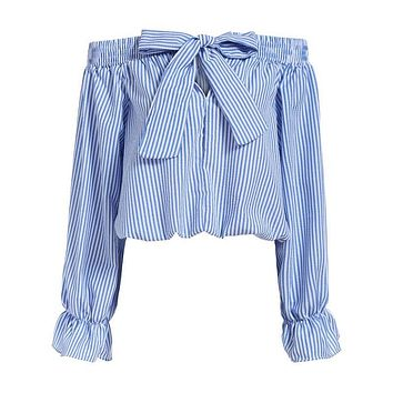 Spring 2017 Women Sexy Blouses Slash Neck Off Shoulder Long Sleeve Casual Tops Shirts Bowknot Blue White Striped Party Blouse