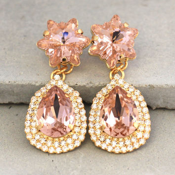 Blush Pink Bridal Crystal Earrings,Swarovski Bridal Statement Chandelier Earrings,Swarovski Crystal Chandelier Earrings,Bridal Chandeliers