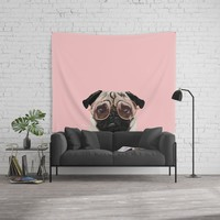 Intellectual Pug Wall Tapestry by lostanaw